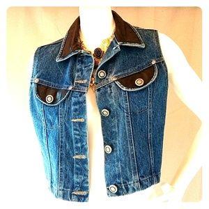 Cache genuine leather denim vest sz S lk new